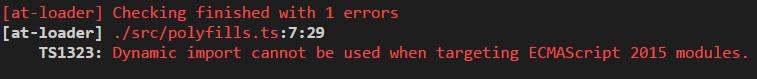 TypeScript 2.4 dynamic imports error